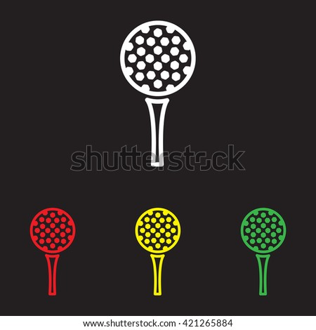 Web line icon. Golf, golf ball on tee - stock vector