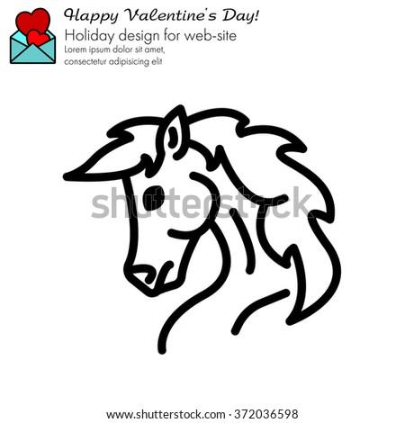Web line icon. Horse; wild animals; - stock vector