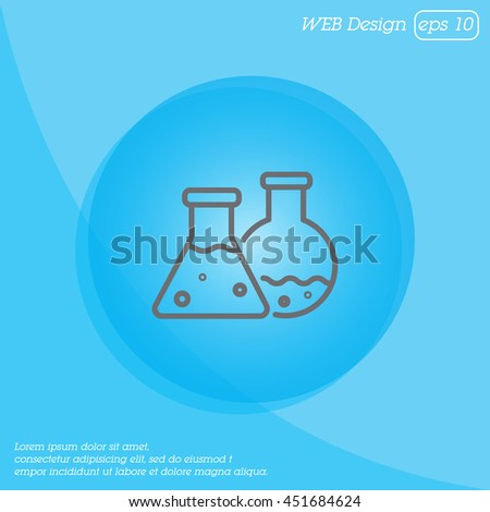 Web line icon. Laboratory flasks - stock vector