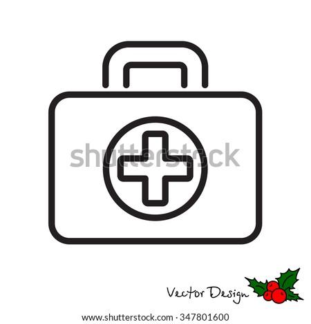 Web line icon. Medical case. - stock vector
