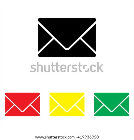 Web line icon. Message, closed envelope