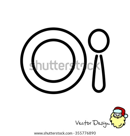 web line icon plate spoon childrens stock vector (royalty free