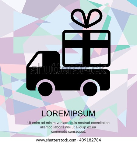 Web line icon. Truck with a gift, Delivery icon - stock vector