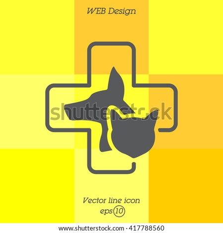 Web line icon. Veterinary medicine icon (dog, cat and cross). - stock vector