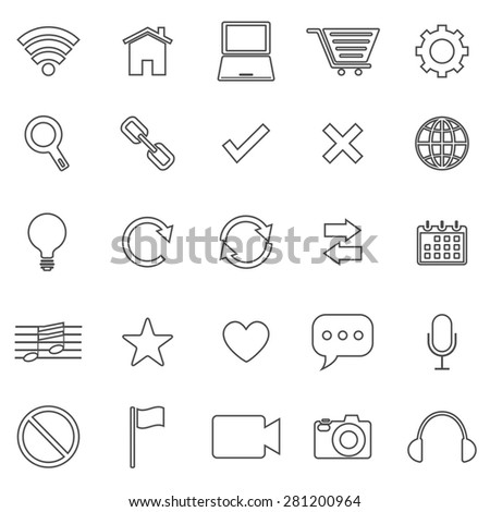 Web line icons on white background, stock vector - stock vector