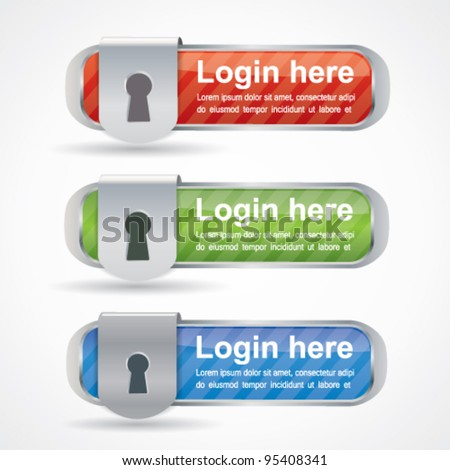 Web2 login buttons with keyhole icon - stock vector