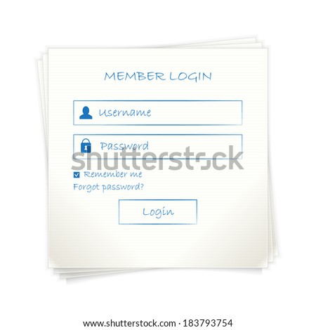 Web login form (page) template  on note paper - stock vector