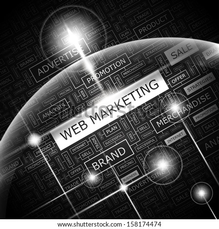 WEB MARKETING. Word cloud illustration. Tag cloud concept collage. Vector text conceptual illustration. Usable for different business design.