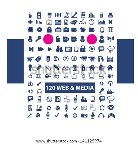 web, media, music, video, office, design, blue icons set, vector - stock vector