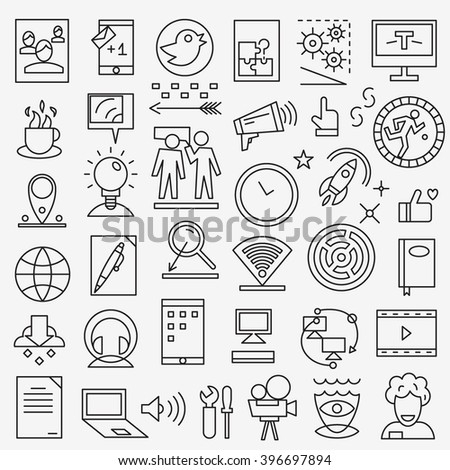 Web media - thin line icons set - stock vector