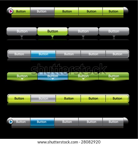Web menu header set. Vector. - stock vector