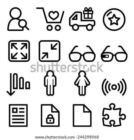 Web menu navigation line icons set - shopping, document  - stock vector