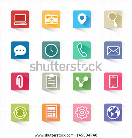 Web mobile applications flat icons set and white background - stock vector