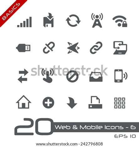 Web & Mobile Icons - 6 // Basics - stock vector