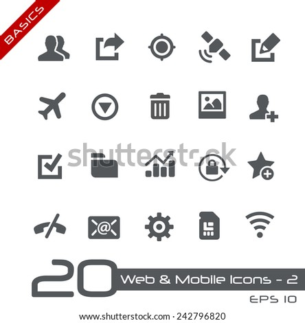 Web & Mobile Icons - 2 // Basics - stock vector