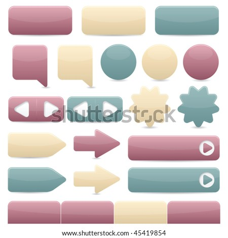 Web navigation buttons in subtle colors - stock vector