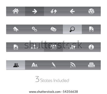 Web Navigation // Gelbar Series  +++ It includes 3 buttons states in different layers.  +++ - stock vector