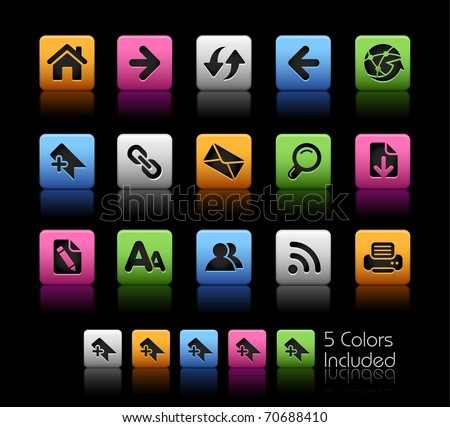 Web Navigation Icons// Color Box -------It includes 5 color versions for each icon in different layers ---------
