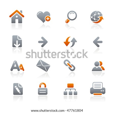 Web Navigation Icons  // Graphite Series - stock vector