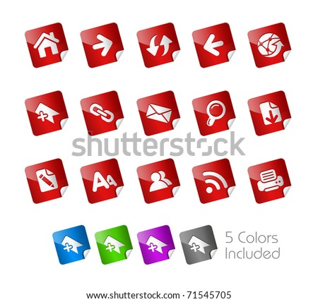 Web Navigation Icons // Stickers Series -------It includes 5 color versions for each icon in different layers ---------