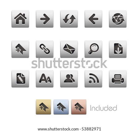 Web Navigation // Metallic Series - It includes 4 color versions for each icon in a different layer. - stock vector