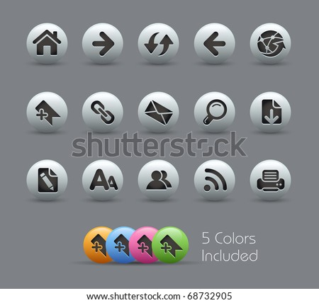 Web Navigation // Pearly Series -------It includes 5 color versions for each icon in different layers --------- - stock vector