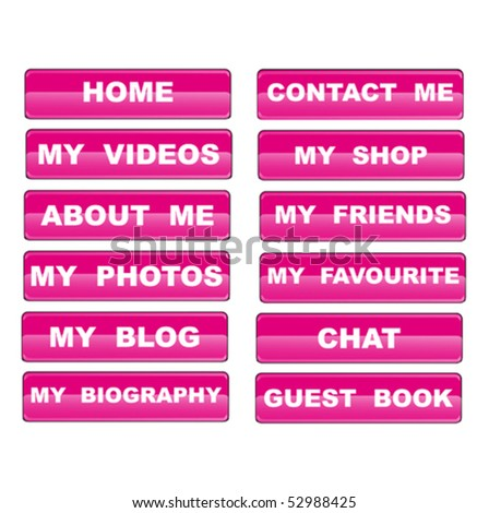 Web navigation templates for personal site - stock vector