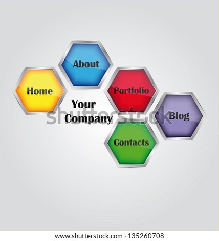 Web navigation templates with place for company logo. - stock vector