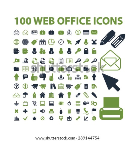 web office, internet, document isolated icons, illustrations, vector - stock vector