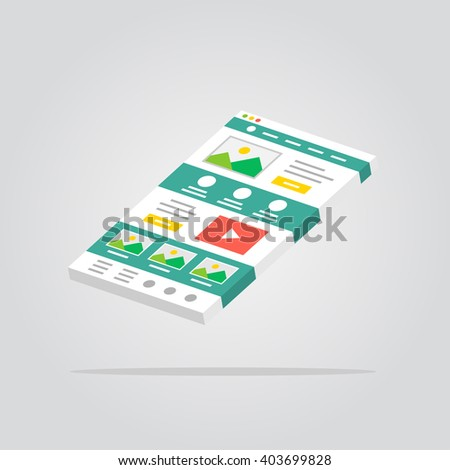 Web page 3D isolated vector illustration. Web design technology 3D creative concept. Website interface isometric graphic design.  - stock vector