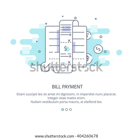 Web page design template of bill payment, payment overdue, broken budget. Bill payment in flat layout style, business concept web vector illustration. - stock vector