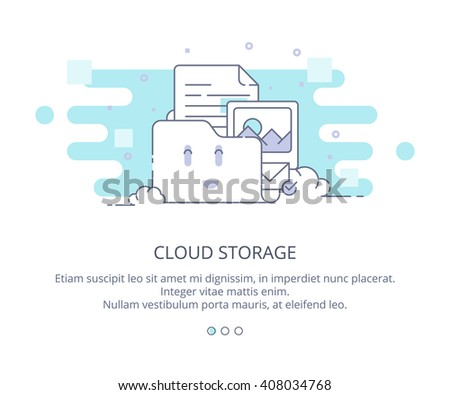 Web Page Design Template of Cloud Computing and Storage. Data Storage, Cloud Computing, Web Sites Hosting. Flat Layout Style, Line Business Concept, Vector Illustration. - stock vector
