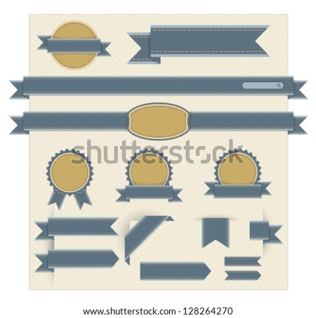 Web page navigation in retro blue. - stock vector