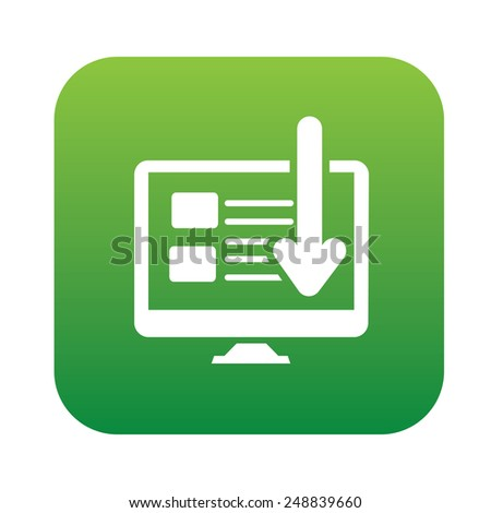 Web page on green button,clean vector - stock vector