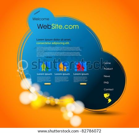 web page template design, easy editable - stock vector