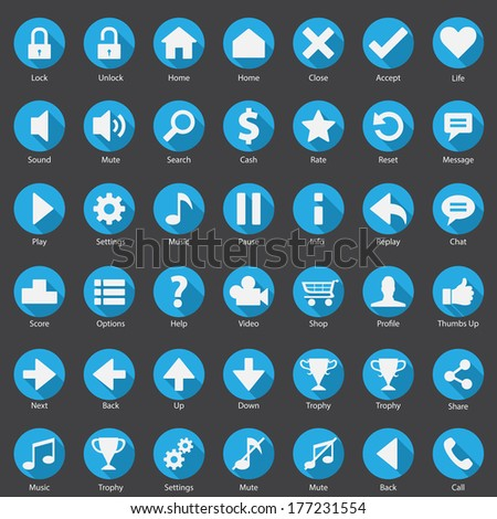 Web Phone Internet Round Blue Icon Set  - stock vector