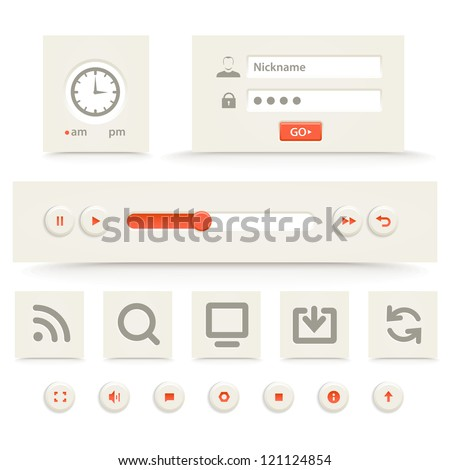Web player interface template - stock vector