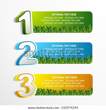web position banner with green grass  - stock vector