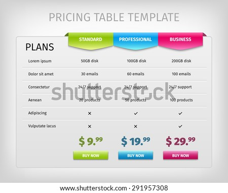Comparison Services Web Pricing Table Template Stock Vector