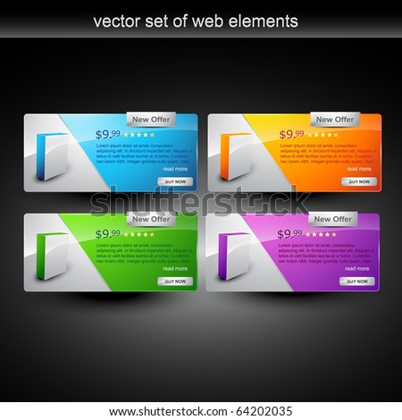 web products display for sale - stock vector