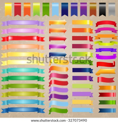 Web Ribbon Set With Old Background With Gradient Mesh, Vector Illustration - stock vector