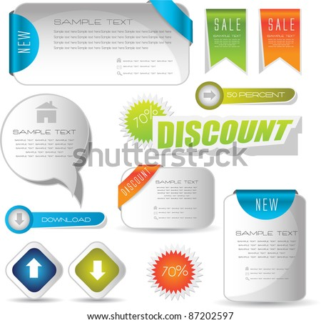 web sale stickers, buttons and banners - stock vector