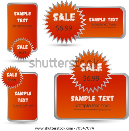 web sale templates in red - stock vector