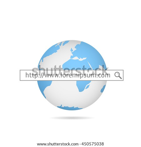 Web search. Blue world map.  Internet service provider.  Internet site. Global computer network - stock vector