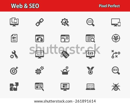 Web & SEO Icons. Professional, pixel perfect icons optimized for both large and small resolutions. - stock vector