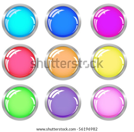 Web shiny buttons in metallic  frame in different colors