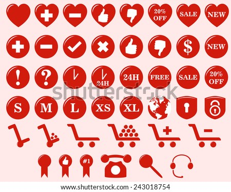 Web shop icons for online stores and other e-commerce related businesses. - stock vector