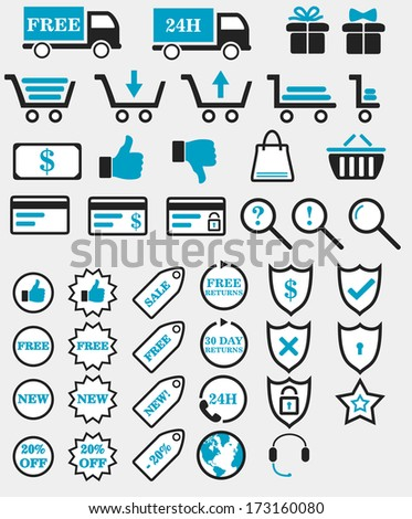 Web shop icons 43 icons fit for a web shop or other commerce related application. - stock vector