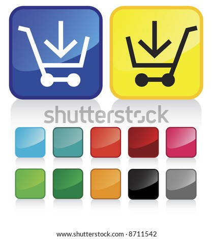 web shopping cart buttons - and suggested colors with glossy aspect - part 1/4 - check my gallery for other similar vectors - stock vector