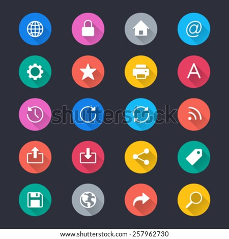 Web simple color icons - stock vector